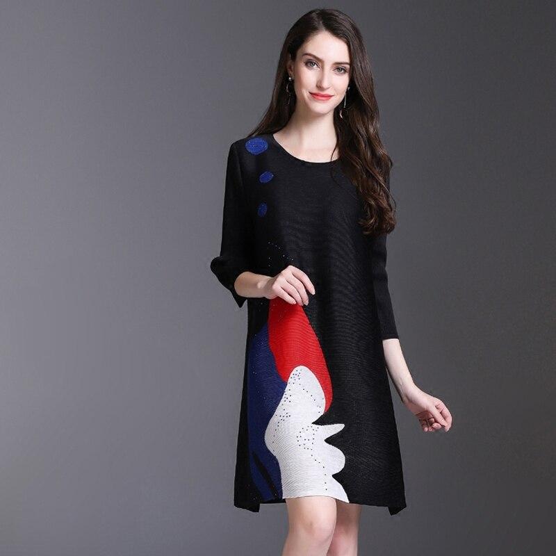 Miyake piega del vestito della molla delle donne nuovo stampato a pieghe vestito lungo di stile nazionale di trasporto libero