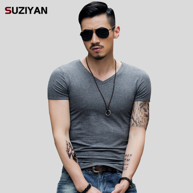 New Brand 2019   T  -  Shirt   Elastic Mens V-Neck Short Sleeve Men   T     Shirt   Male TShirt Comfortable Soft Breathable Man Tees Big Size