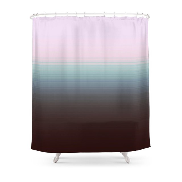 Gray Steel Blue Ombre Shower Curtain Set Bath For Bathroom With Non Slip Floor