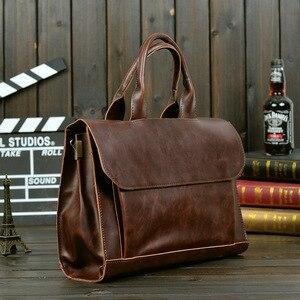 Image 2 - ABDB ETONWEAG Vintage Briefcases Men Messenger Bags Brown Luxury Business Briefcase Document Lawyer Laptop Bag