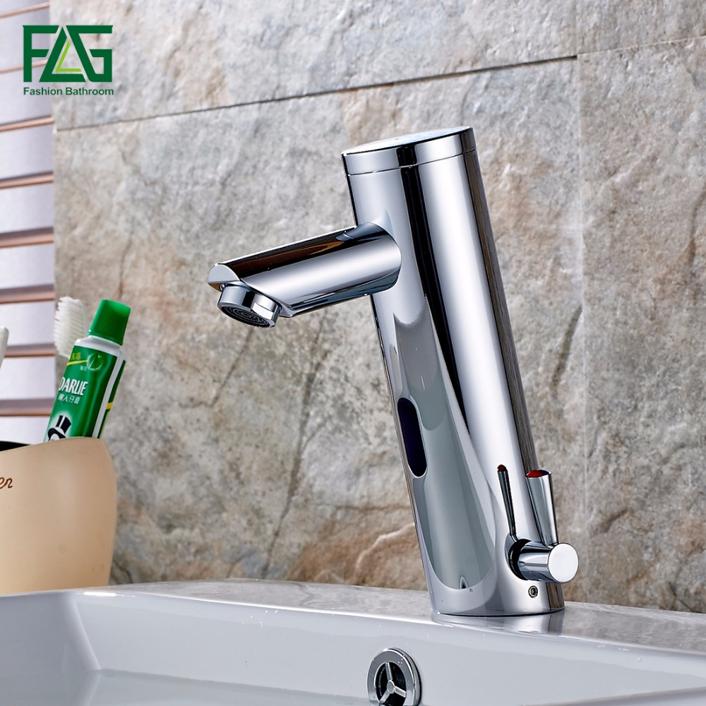flg hot and cold bathroom water mixer automatic faucet hand touch tap battery power free sensor