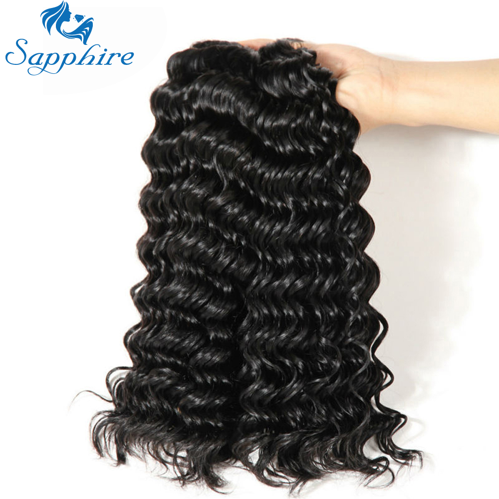 Sapphire Brazilian Curly Hair Weave Bundles With Closure 2/3 Bundle With Lace Closure Human Hair Deep Wave Bundles With Closure