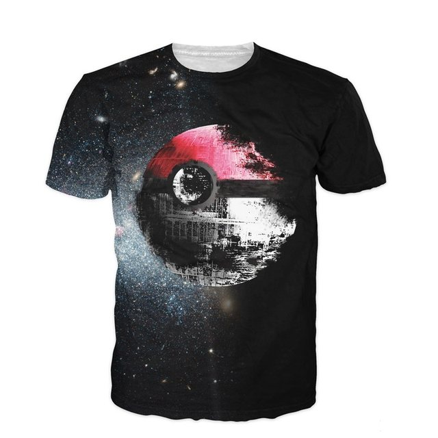 11aaec6c1ca5 Online Shop New 3D T Shirt Pokeball Deathstar T-Shirt Sexy Tee Anime ...