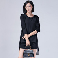 L7331 Spring Korean Thin Chiffon Shirt Size Mm T Shirt Dress Loose Fat In The Long