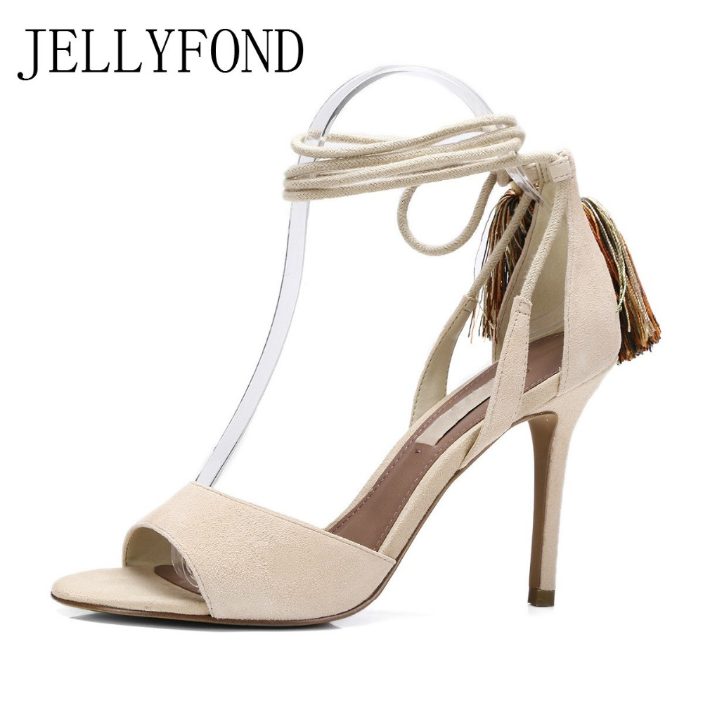 JELLYFOND Tassels Lace Up Women Gladiator Sandals Sexy High Heels Peep Toe Cross Tied Sandals 2017 Brand Summer Shoes Woman  rome new sexy high heels wedding shoes woman 2017 brand cross tied women luxury retro square toe gladiator sandals women boots