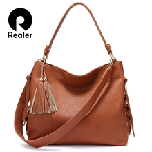 Realer shoulder bags female artificial leather women handbag with top-