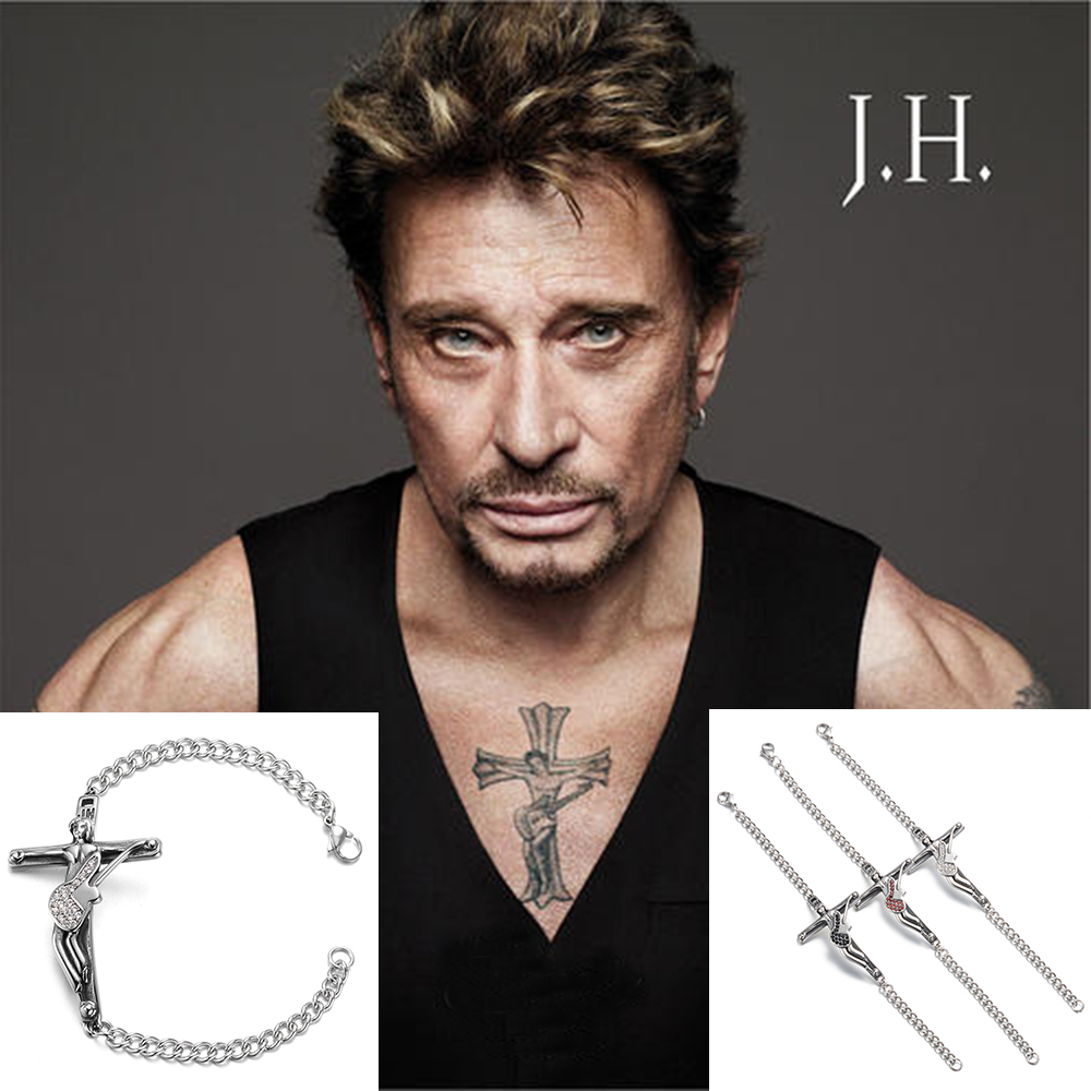French Rocker Johnny Hallyday Collection Guitar Cross Bracelets 316 Stainless Steel Christian Crucifix Bangle Jewelry Men