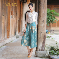 VOA плюс Размеры свободные Подрезанные штаны шелк жаккард с цветочным принтом озеро синий середины талии Повседневное Для женщин широкие шт