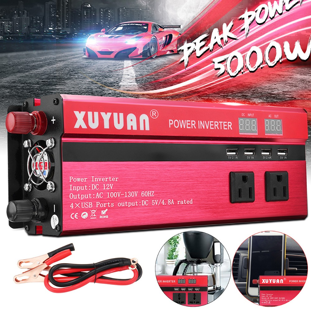 Inverter 12V 220V 5000W Peak Car Power Inverter Voltage Transformer Converter 12 220 Charger Solar Inversor 12V 220V LCD Display car inverter 12v 220v power inverters voltage transformer converter 12 220 1000w charger on display solar adapter 12v 220v dy104