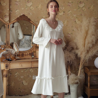 Retro Nightdress Victorian Style Draped Home Wear Night Midi Dress Vintage Nightgown Autumn Sleepwear Women Indoor Clothing