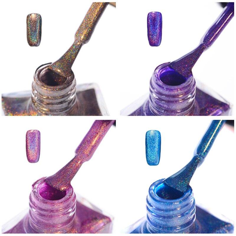 4Pcs BORN PRETTY Holographic Glitter Polish Kit Holo Super Shine Colorful 10ml Nail Art Polish Set Nail Lacquer Varnish