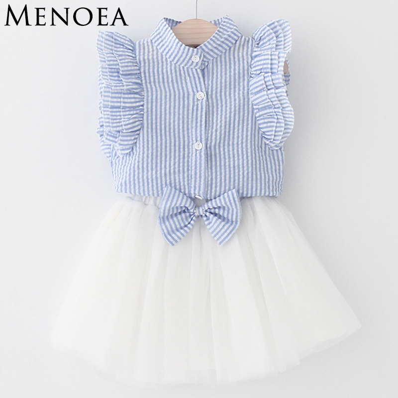 цена Menoea 2017 Brand New Casual Summer Style Girls Clothing Set  Sleeveless White Lace T-shirt+Skirt  for Kids Clothes 3-7Y  O Neck