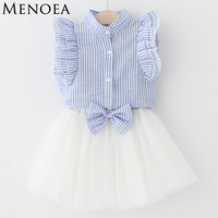 Girls Dress 2016 Casual Summer Style Girls Clothes Sleeveless White Lace T Shirt Grils Dress 2Pcs