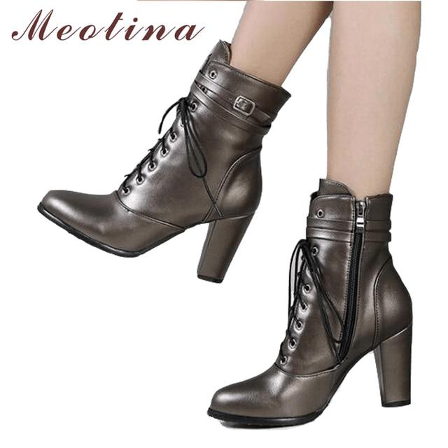 Meotina 女性アンクルブーツハイヒールブーツレースアップ冬女性の靴秋スライバービッグサイズ 43
