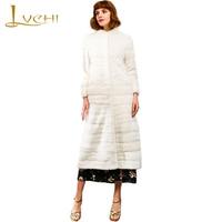 LVCHI 2018 Velvet Real Mink Coat Women S Long Sleeve Coat Mandarin Collar Pure Color Slim