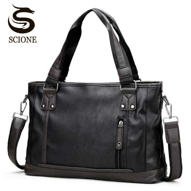 Fashion Men's Briefcase Shoulder Bags For Business Man Vintage Messenger Bag 14' Laptop Handbag Male Crossbody PU Leather Bags
