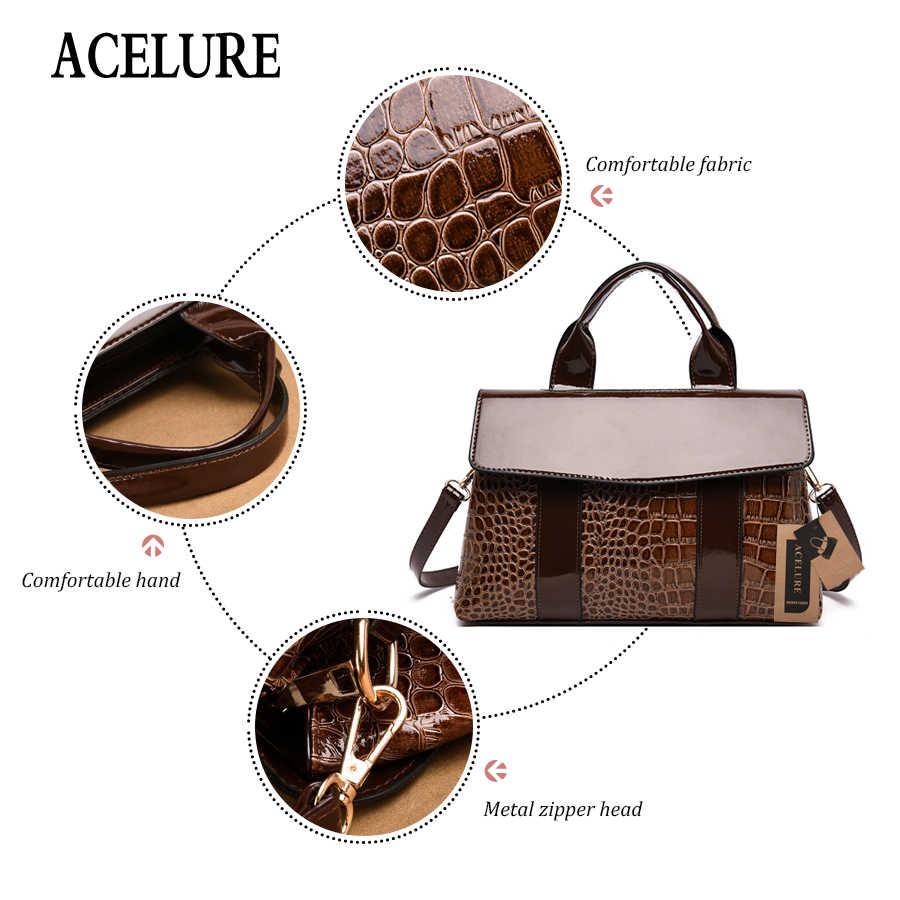 ACELURE خمر حقائب كتف المرأة بولي Leather جلدية عالية الجودة المرأة حقيبة ساعي العلامة التجارية مصمم الإناث حقيبة يد السيدات كيس الرئيسي