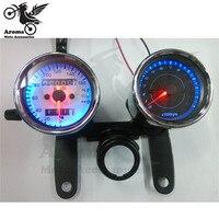 Free Shipping Universal Motorcycle Dual Odometer For Yamaha Honda Suzuki Kawasaki Moto Speedometer Speed Gauge LED