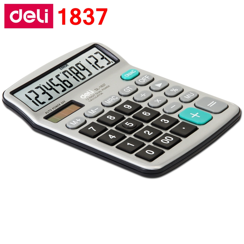 Deli Electronic calculator office financial 12 digits real talking pocket solar calculator with battery dual power gift