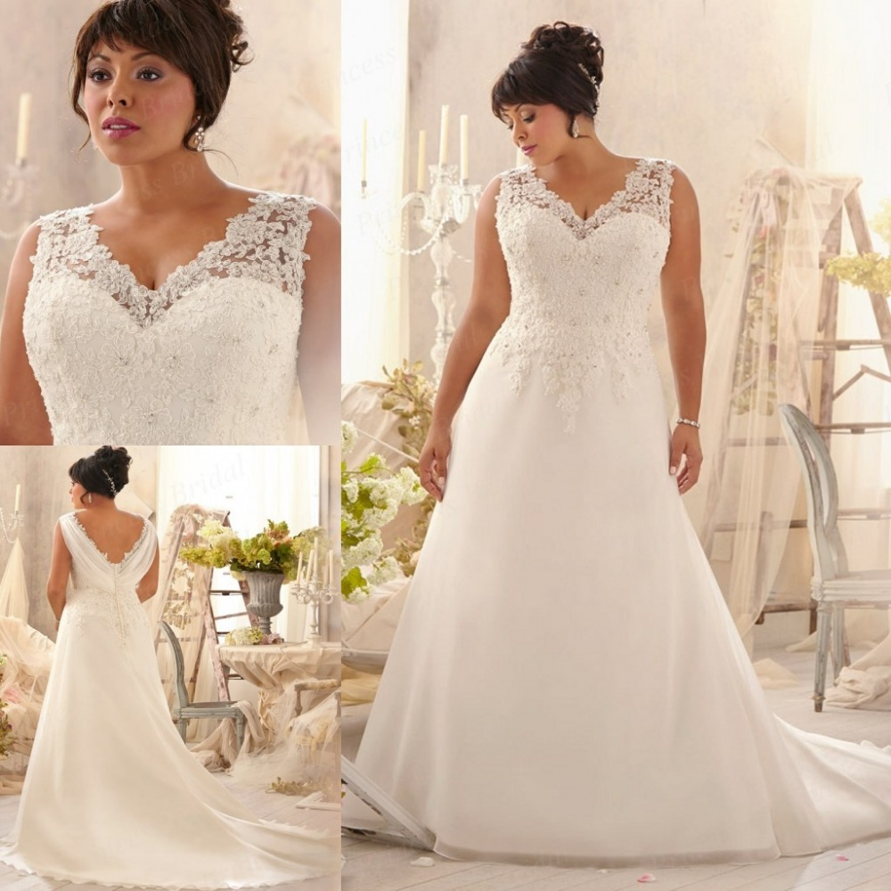 Discount design a line v neck sweep train empire waist for Empire waist plus size wedding dress