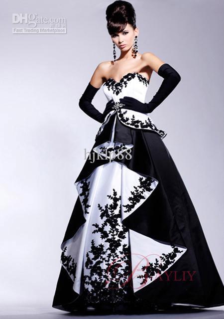 Wholesale - Applique Cocktail Prom Dress Ball Gown Strapless Black White Floor Train Satin P032