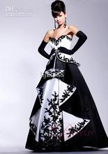 Wholesale - Applique Cocktail Prom Dress Ball Gown Strapless Black White Floor Train Satin P032
