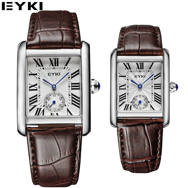 EYKI 2017 Lovers Watches Simple Analog Display Couples Quartz Watch Men Women Business Office Square Dial Leather Montre Homme