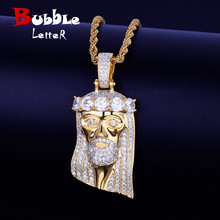 Iced Religious Jesus Head Pendant Necklace Free Rope Chain Gold Color Bling Cubic Zircon Mens Hip Hop Jewelry For Gift