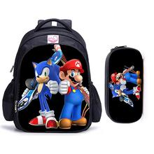 16 inch Sonic Hedgehog Mario Bros Children Backpack Lovely Schoolbag Boys and Girls Orthopedic Pencil Bag Sets