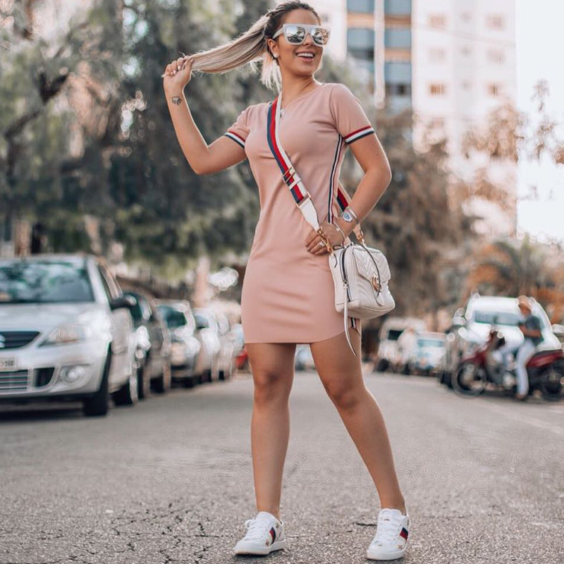 YZ Women 39 s Sexy D 2019 New Summer Short Sleeves Collage Contrast Webbing Hips Skinny Casual Feminino Sexy Dress in Dresses from Women 39 s Clothing