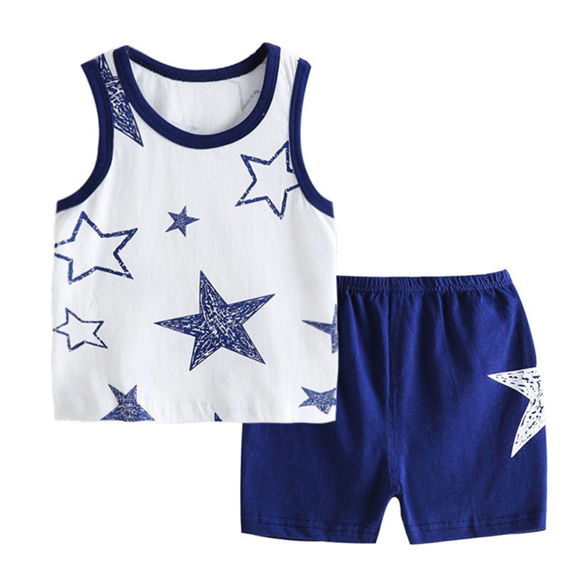 Childrens vest Set Cotton Thin Section Summer New Sleeveless Shorts Set Comfortable For Dressing In the Summer