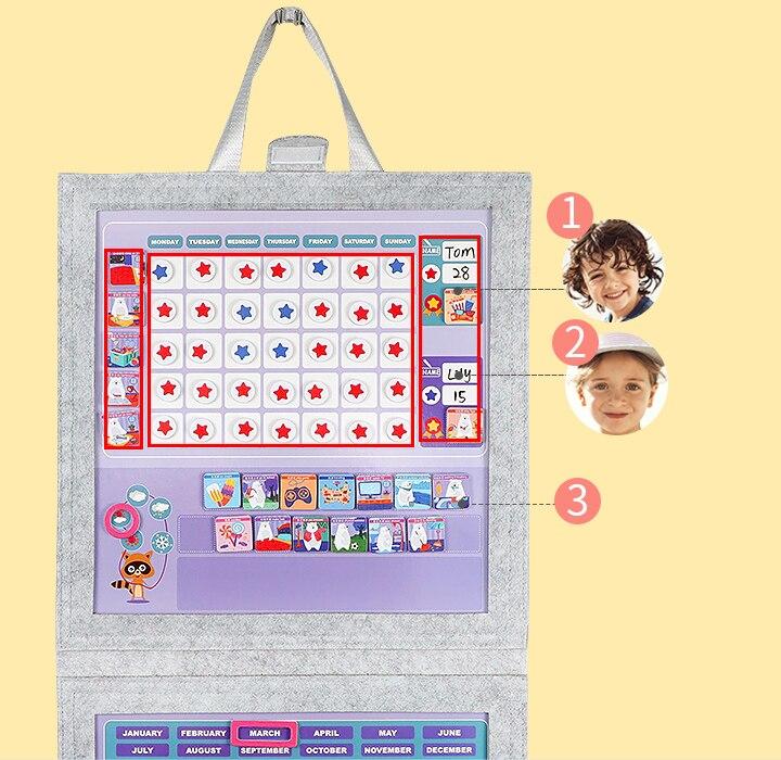 Магнитная фетровая ткань еженедельная Таблица наград Chore запись роста диаграмма повесить календарь регулируемые часы Примечания для детей подарок комнаты декор