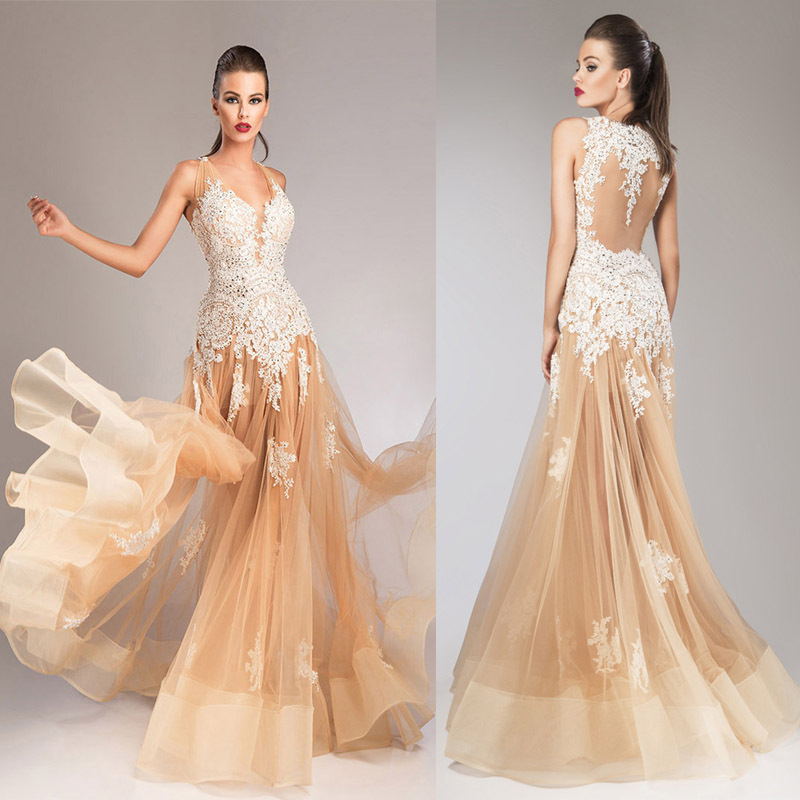 Champagne Ombre   Prom     Dresses   Ivory Lace Appliques Long   Dress   Luxury Beaded Evening Gowns Sheer Back 2015 New Abendkleider ED003