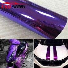 Buona qualità Ad Alta elastico Impermeabile AI RAGGI UV Protetto Viola Chrome Mirror Vinile Wrap Copriletto Rotolo di Pellicola Car Sticker Decal Copriletto