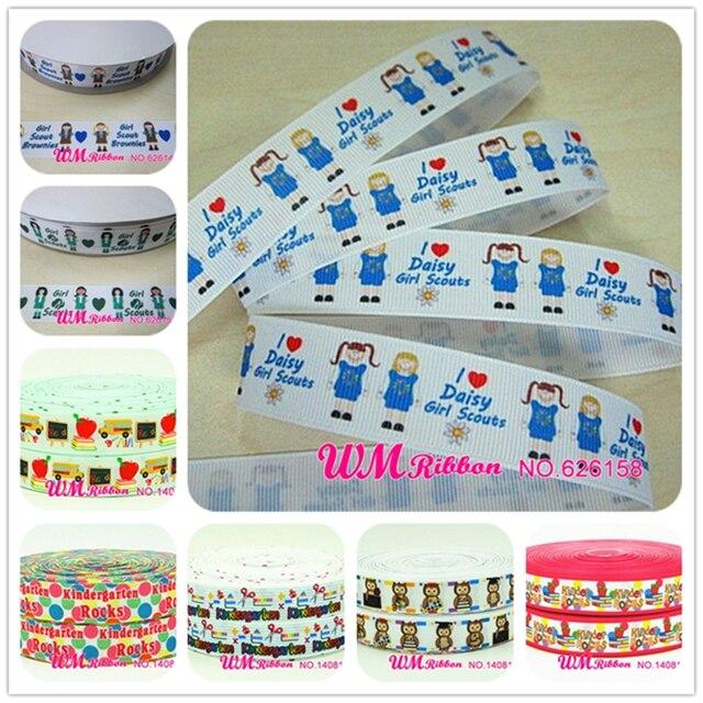 Q&N ribbon wholesale/OEM 7/8inch 22mm blue girl scouts brown print grosgrain ribbon 50yds/roll free shipping