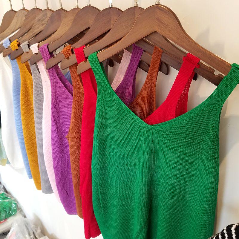 Women Casual Cropped Top Damen Sexy v-ausschnitt Strickte Tank Aushöhlen T-shirt Freizeithemd 11 Farben