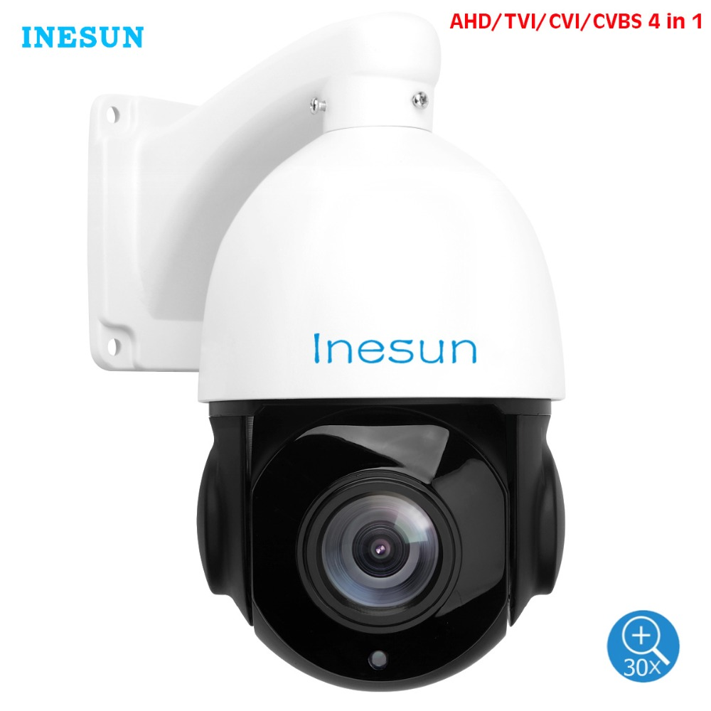 Inesun 2MP 5MP AHD PTZ Security Camera 30X Optical Zoom 4-in-1 HDTVI/AHD/CVI/CVBS Outdoor Video Surveillance High Speed Dome Cam
