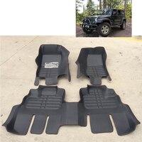 fast shipping waterproof fiber leather car floor mat rug for jeep wrangler JK 2007 2016 2017 2015 2014 2013 2012 2 doors 4 doors