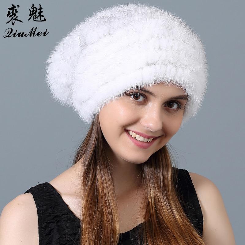 New Mink Fur Hat Winter for Women Genuine Fur Warm Cap Real Fur   Skullies   &   Beanies   Natural Knitting Fur Hats Casual Bonnet Femme
