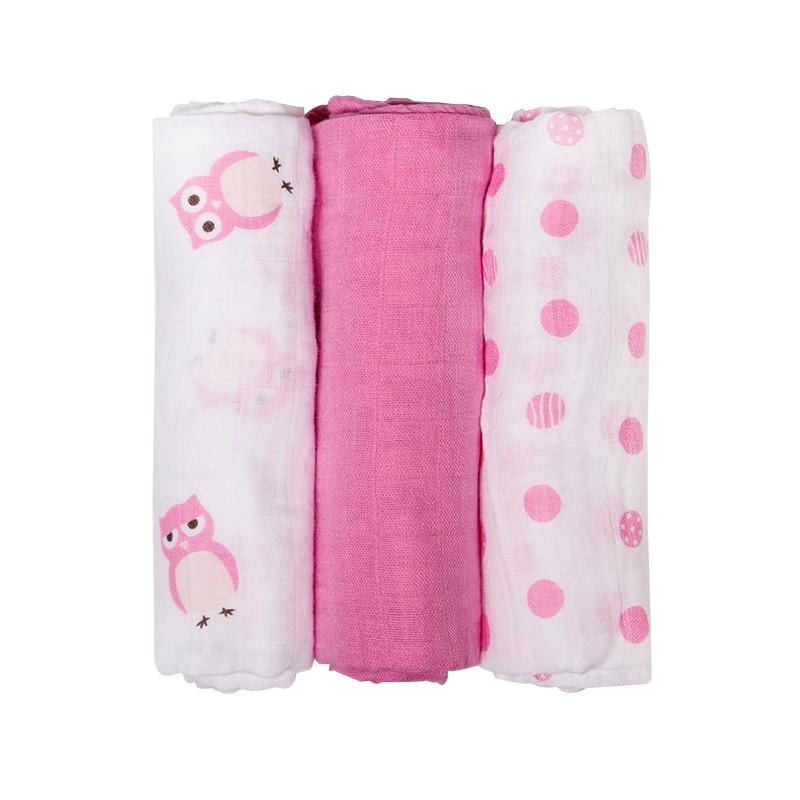 Muslin Diaper Cloth Cotton Baby Swaddles Newborn Baby Blankets Double Layer Gauze Bath Towel Hold Wraps 3Pcs Set 70x70cm шапка для девочки marhatter цвет сиреневый mgh6503 размер 52 54