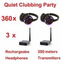 Профессиональный легкие наушники Silent Disco полной системы тихий Клубные вечерние Комплект (360 наушники + 3 передатчиков)
