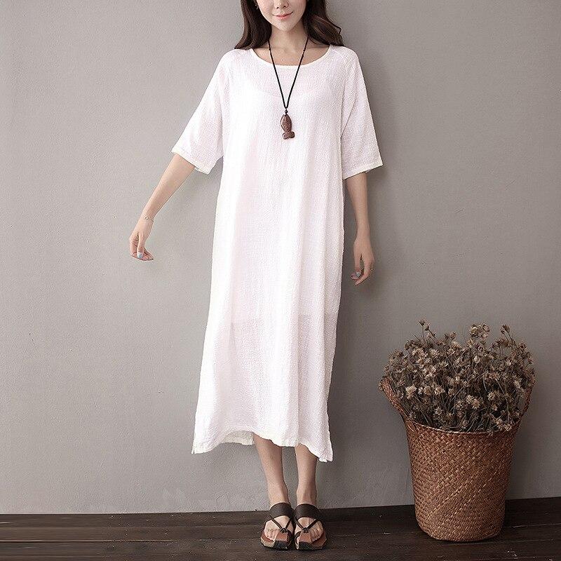 Qaturalan 2017 Summer Shirt Dress Casual font b Women b font Cotton Linen Dresses Loose Retro