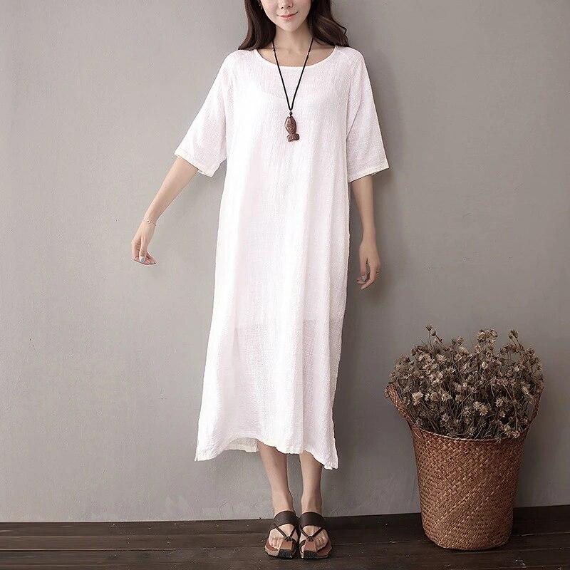 Qaturalan 2017 Ete Chemise Robe Decontracte Femmes Coton Linge Robes Lache Retro Solide Blanc Robes Femmes Robe Ete Vetements Aliexpress