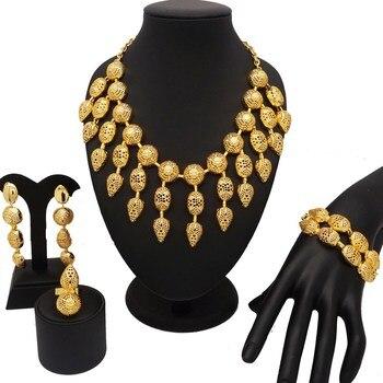 18K gold dubai jewelry sets women fashion necklace sets women necklace gold jewelry sets African women jewelry sets 1