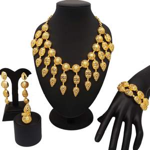 18K gold dubai jewelry sets women fashion necklace sets women necklace gold jewelry sets African women jewelry sets