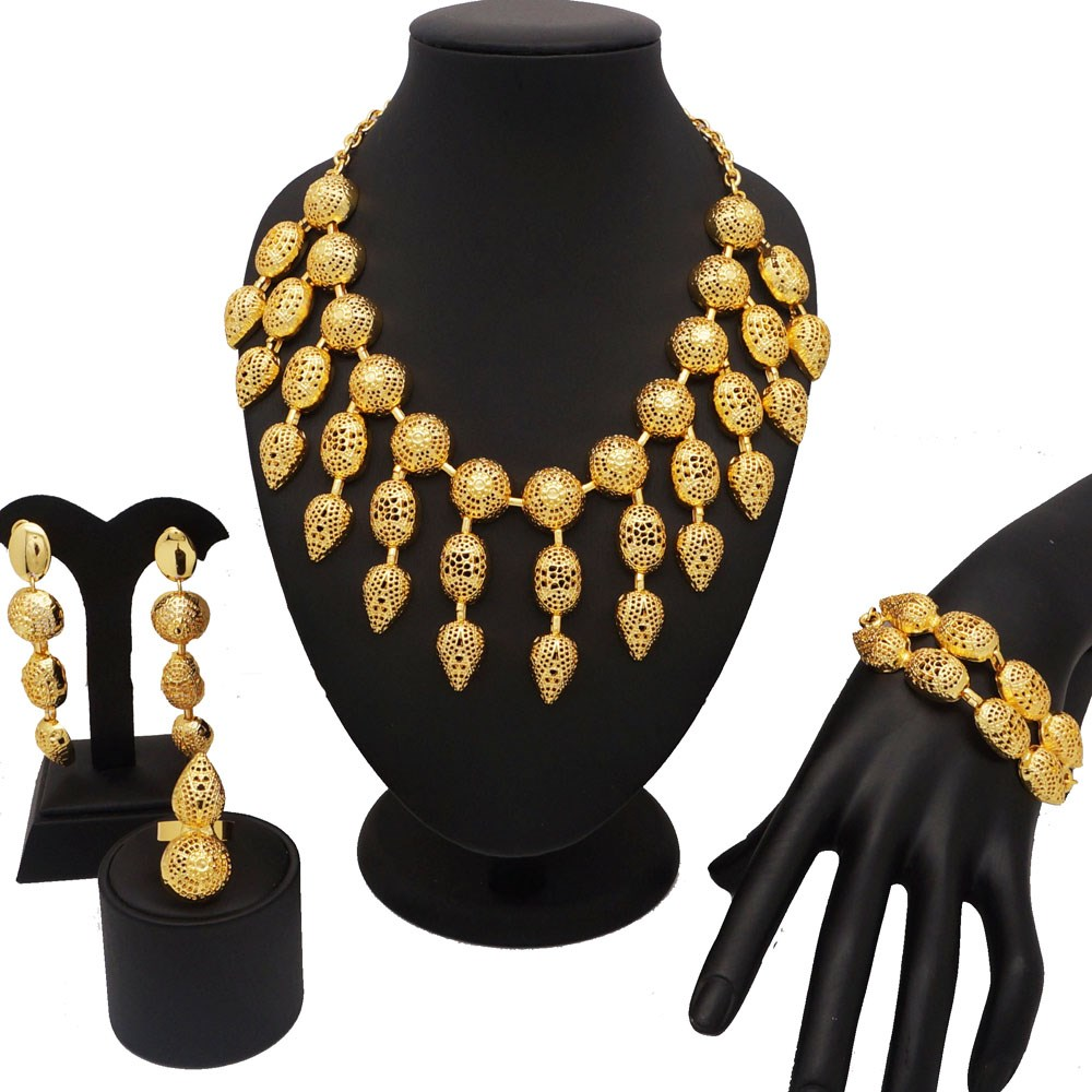 18K gold dubai jewelry sets women fashion necklace African