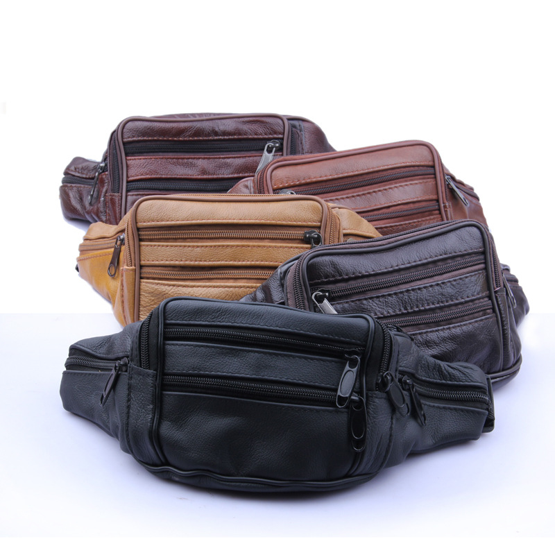 2017 Cowhide Genuine Leather Men Waist Packs Fanny Pack Belt Bag Phone Pouch Bags Travel Pack Male Small Waist Bag Leather Purse vintage bags real genuine leather cowhide men waist pack pouch for men leather waist bag outdoor travle belt wallets vp j7144 page 6