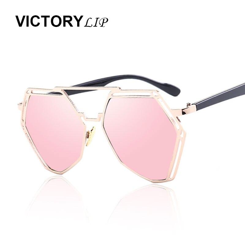 VictoryLip Surdimensionné Miroir New lunettes de Soleil Femmes Miroir  Hexagone Femelle Métal Pad Soleil Lunettes Marque Designer Élégant Lunettes c1b0ac0ecb14