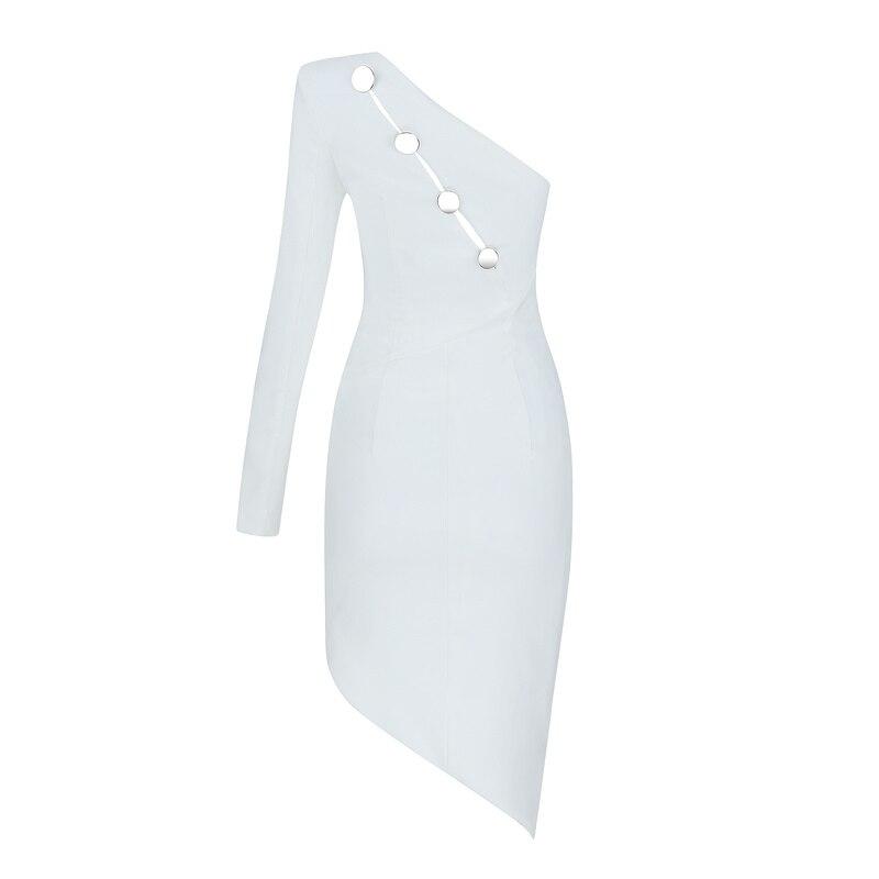 Épaule Mi Une Asymétrique Nouvelles White À Élégante mollet Moulante Gosexy 2019 Femmes Paillettes Robe Blanc Longueur Sexy Parti Col nWc41Xqf