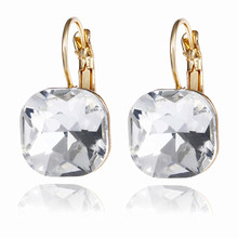 E0257 Fashion Simple Austrian Crystal Dangle Earrings For Women Gold Color Square Shaped Shinning Drop Earrings Female Jewelry(China)